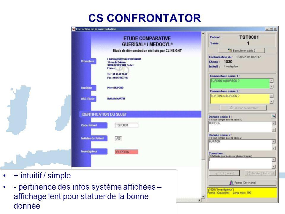CS TEST Permet de paramétrer et dexécuter des tests de cohérence dans le but déditer des bordereaux de queries, et de gérer les DCFs On distingue 2 modes de création des tests: - Tests en mode « biblio » : utilisés pour des pages qui se répètent, et des tests faisant intervenir des champs dune même page - Tests en mode « étude » : utilisés pour des pages uniques, ou des tests faisant intervenir des champs de plusieurs pages La condition du test correspond à ce qui est attendu et non à ce qui doit sortir en erreur.