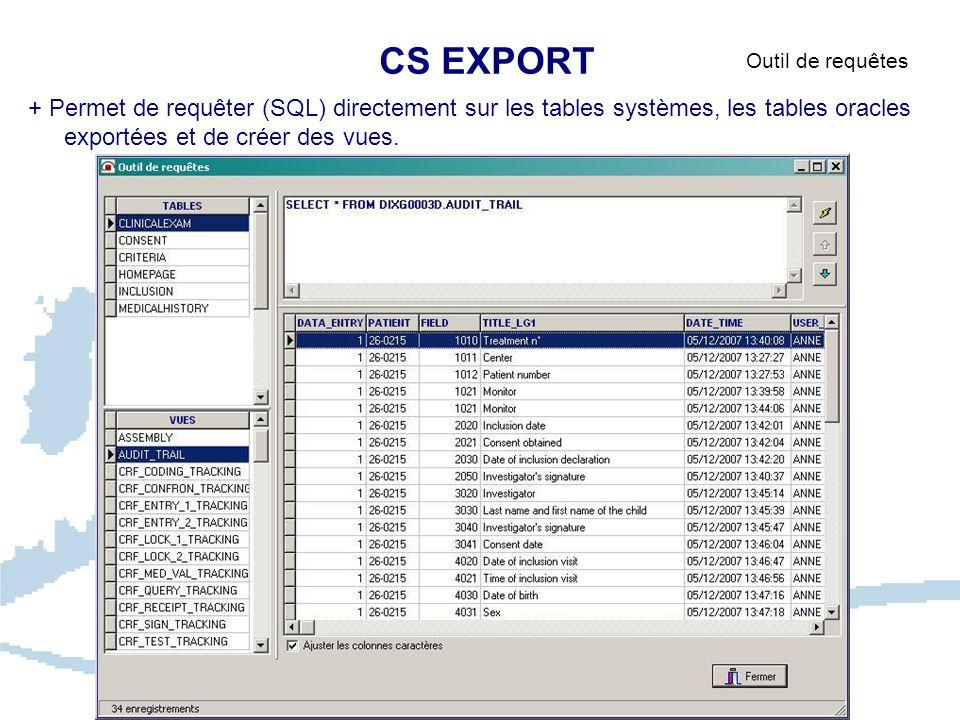 CS EXPORT Outil de requêtes + Permet de requêter (SQL) directement sur les tables systèmes, les tables oracles exportées et de créer des vues.