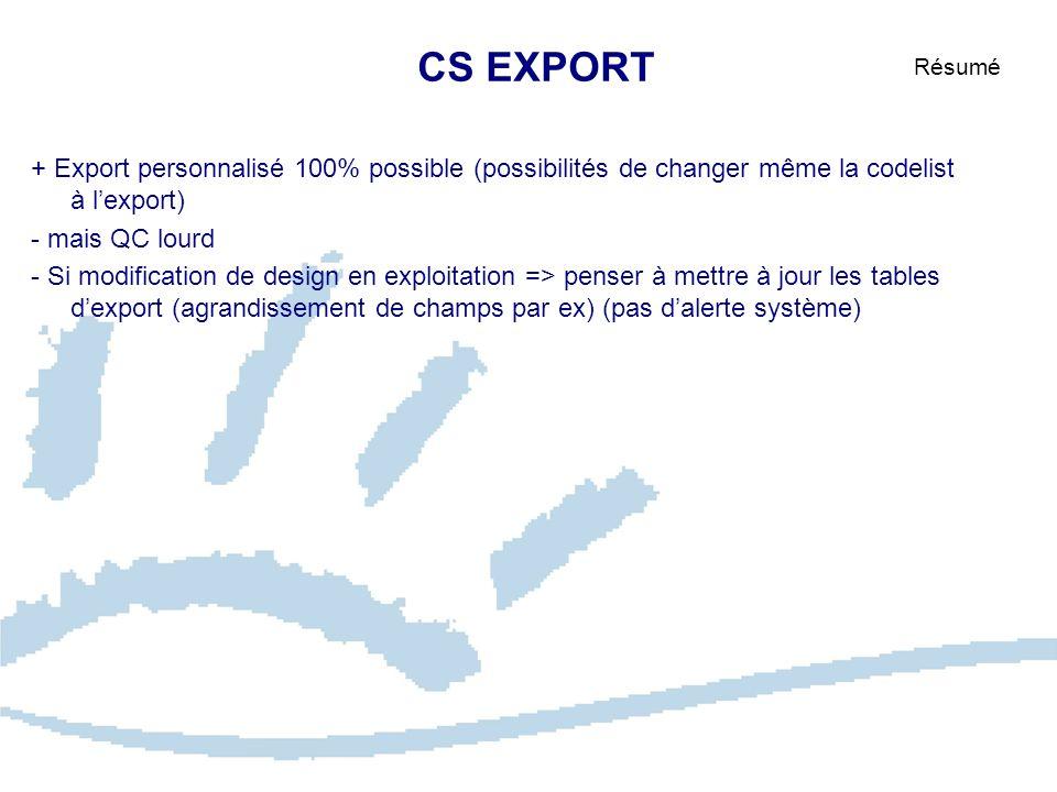 CS EXPORT Résumé + Export personnalisé 100% possible (possibilités de changer même la codelist à lexport) - mais QC lourd - Si modification de design