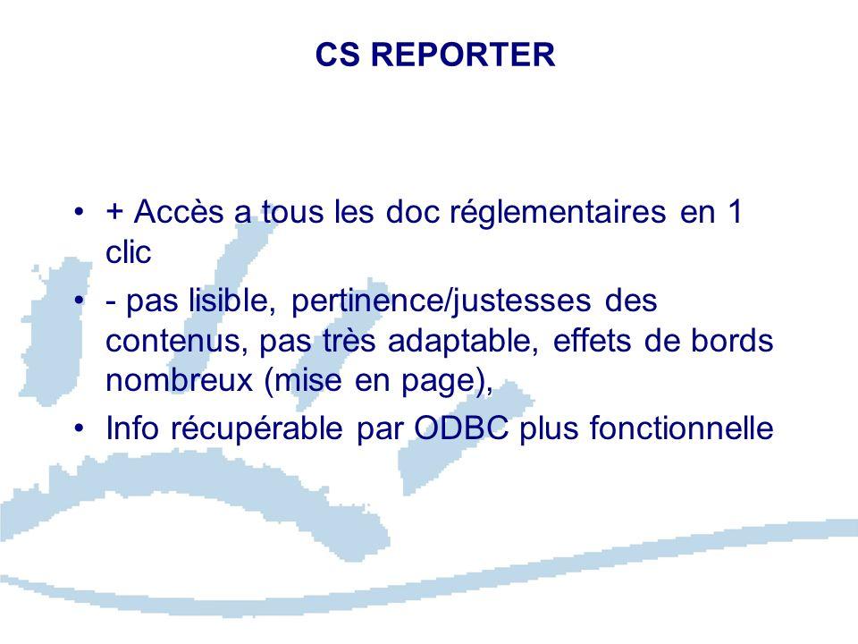 CS REPORTER + Accès a tous les doc réglementaires en 1 clic - pas lisible, pertinence/justesses des contenus, pas très adaptable, effets de bords nomb