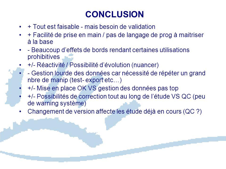 CONCLUSION + Tout est faisable - mais besoin de validation + Facilité de prise en main / pas de langage de prog à maitriser à la base - Beaucoup deffe