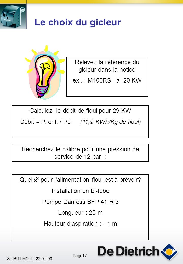 ST-BR1 MO_F_22-01-09 Page16 Le choix du brûleur M 100 RS : 16 à 31 kW M 100/1 S : 22 à 33 kW M 100/2 S: 29 à 37 kW M 100/3 S : 29 à 65 kW Contrôler qu
