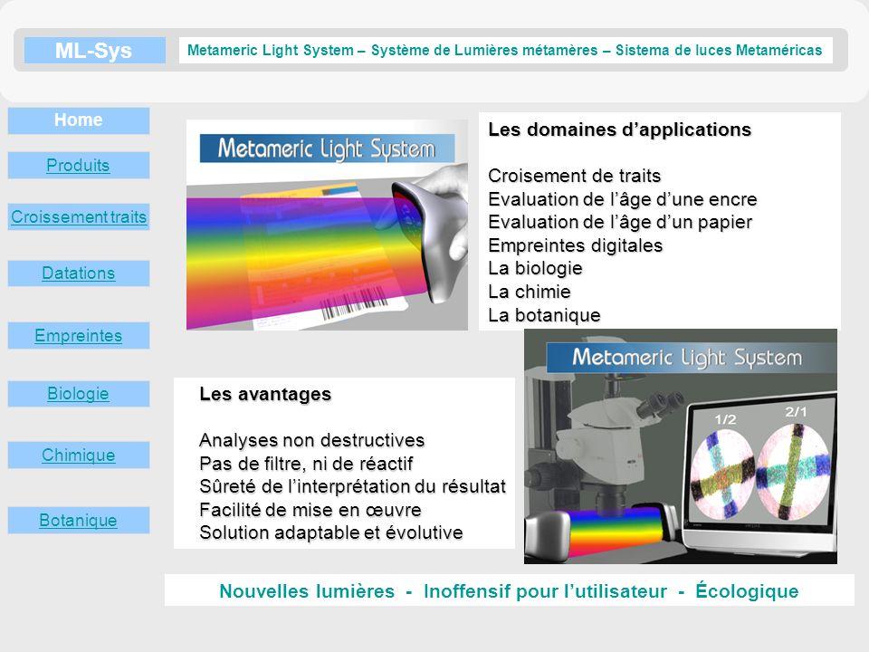 ML-Sys Croissement traits Datations Empreintes Metameric Light System – Système de Lumières métamères – Sistema de luces Metaméricas Biologie Chimique Botanique Home En savoir plus Produits Source de Lumières