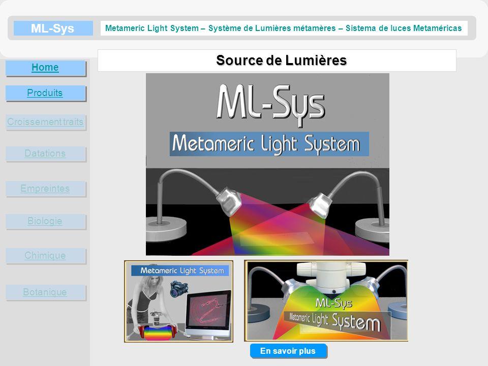 ML-Sys Croissement traits Datations Empreintes Metameric Light System – Système de Lumières métamères – Sistema de luces Metaméricas Biologie Chimique Botanique Home En savoir plus Produits En savoir plus…