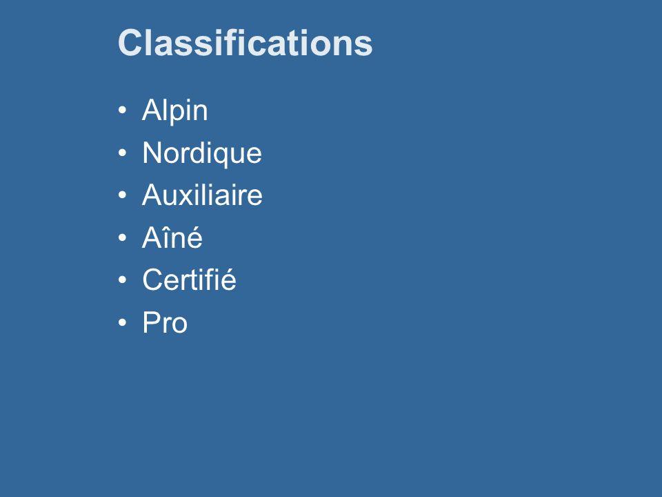 Classifications Alpin Nordique Auxiliaire Aîné Certifié Pro