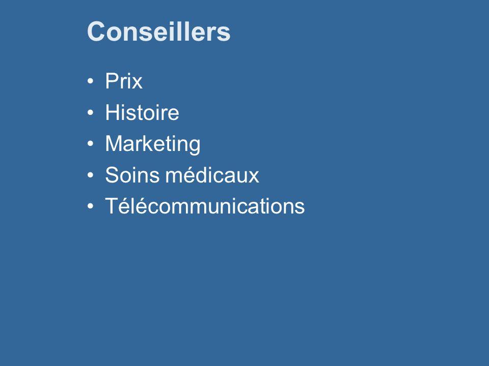 Conseillers Prix Histoire Marketing Soins médicaux Télécommunications