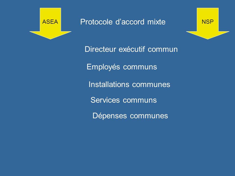 ASEANSP Protocole daccord mixte Employés communs Installations communes Services communs Dépenses communes Directeur exécutif commun
