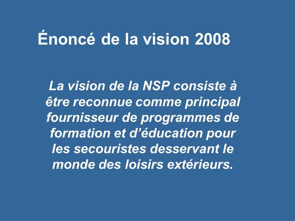 Énoncé de la vision 2008 La vision de la NSP consiste à être reconnue comme principal fournisseur de programmes de formation et déducation pour les secouristes desservant le monde des loisirs extérieurs.
