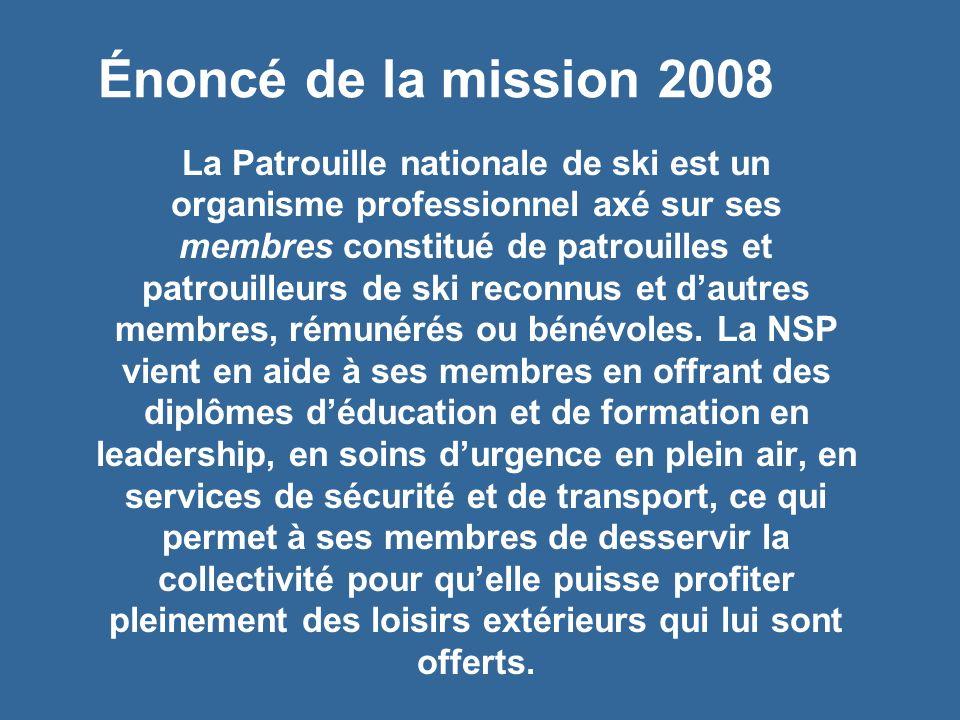 Énoncé de la mission 2008 La Patrouille nationale de ski est un organisme professionnel axé sur ses membres constitué de patrouilles et patrouilleurs de ski reconnus et dautres membres, rémunérés ou bénévoles.
