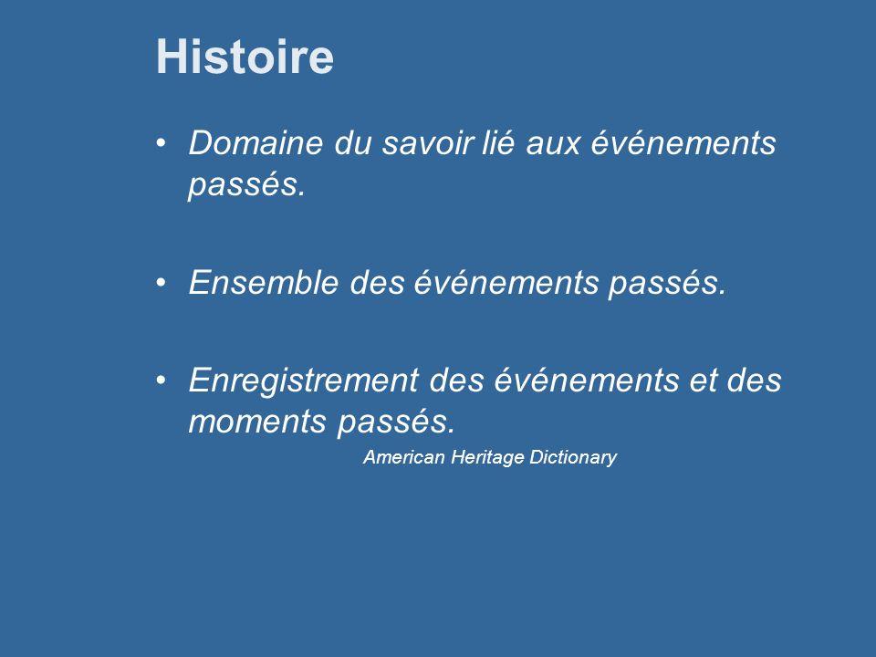 Histoire Domaine du savoir lié aux événements passés.