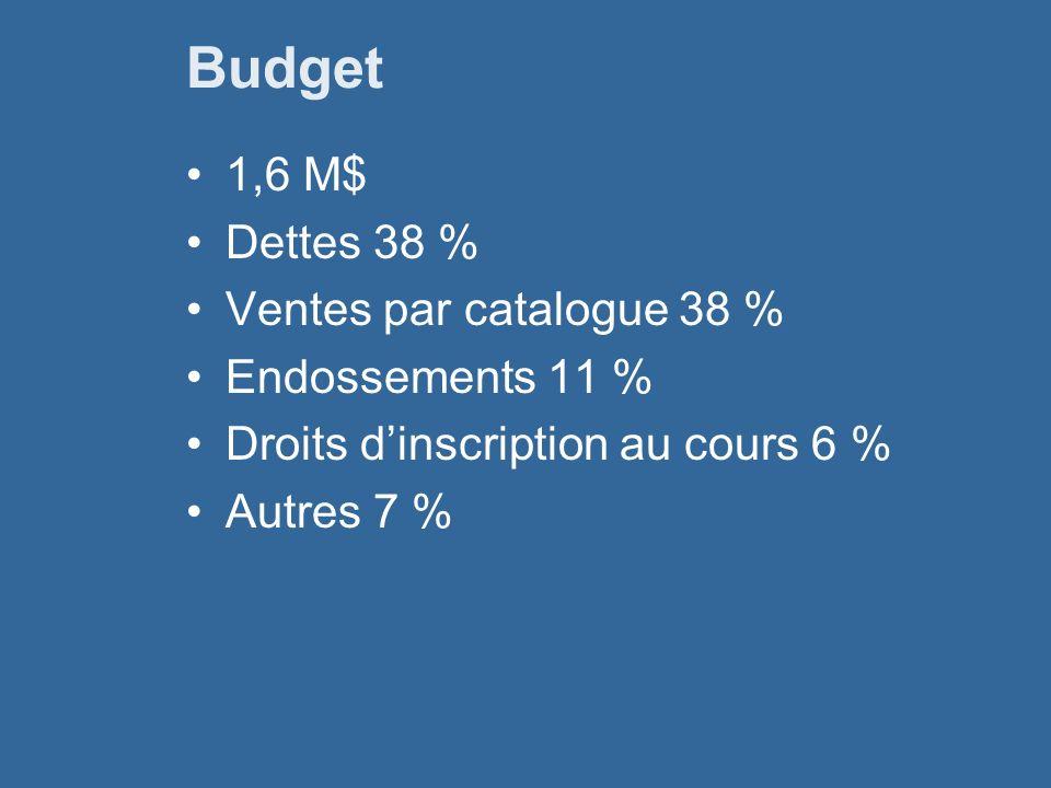 Budget 1,6 M$ Dettes 38 % Ventes par catalogue 38 % Endossements 11 % Droits dinscription au cours 6 % Autres 7 %