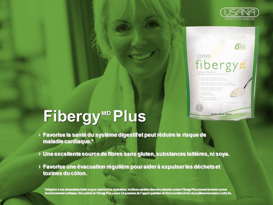 *Intégrées à une alimentation faible en gras saturés et en cholestérol, les fibres solubles dans des aliments comme Fibergy Plus peuvent favoriser un