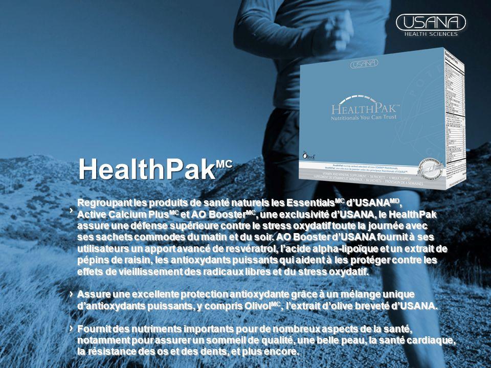 HealthPak MC Regroupant les produits de santé naturels les Essentials MC dUSANA MD, Active Calcium Plus MC et AO Booster MC, une exclusivité dUSANA, l