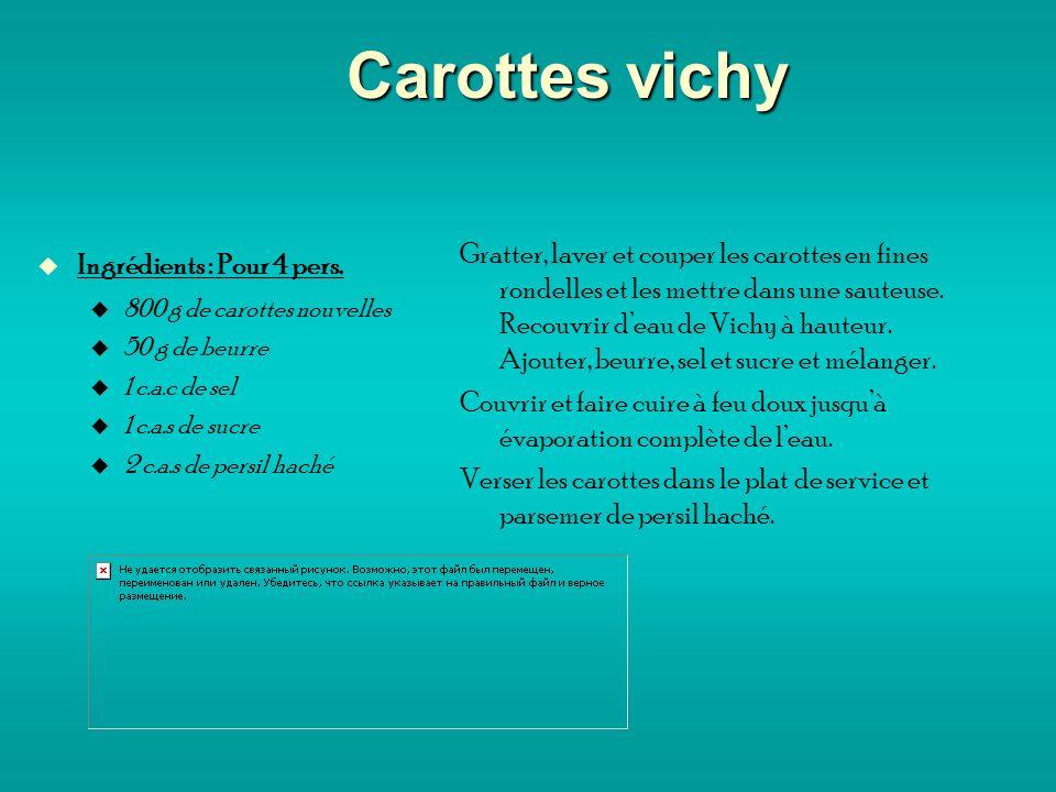 Carottes vichy Ingrédients : Pour 4 pers.