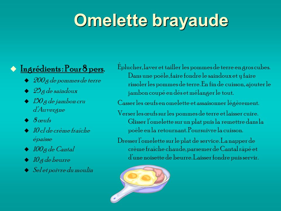 Omelette brayaude Ingrédients : Pour 8 pers.