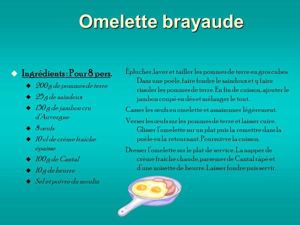 Omelette brayaude Ingrédients : Pour 8 pers. 200 g de pommes de terre 25 g de saindoux 150 g de jambon cru dAuvergne 8 œufs 10 cl de crème fraîche épa