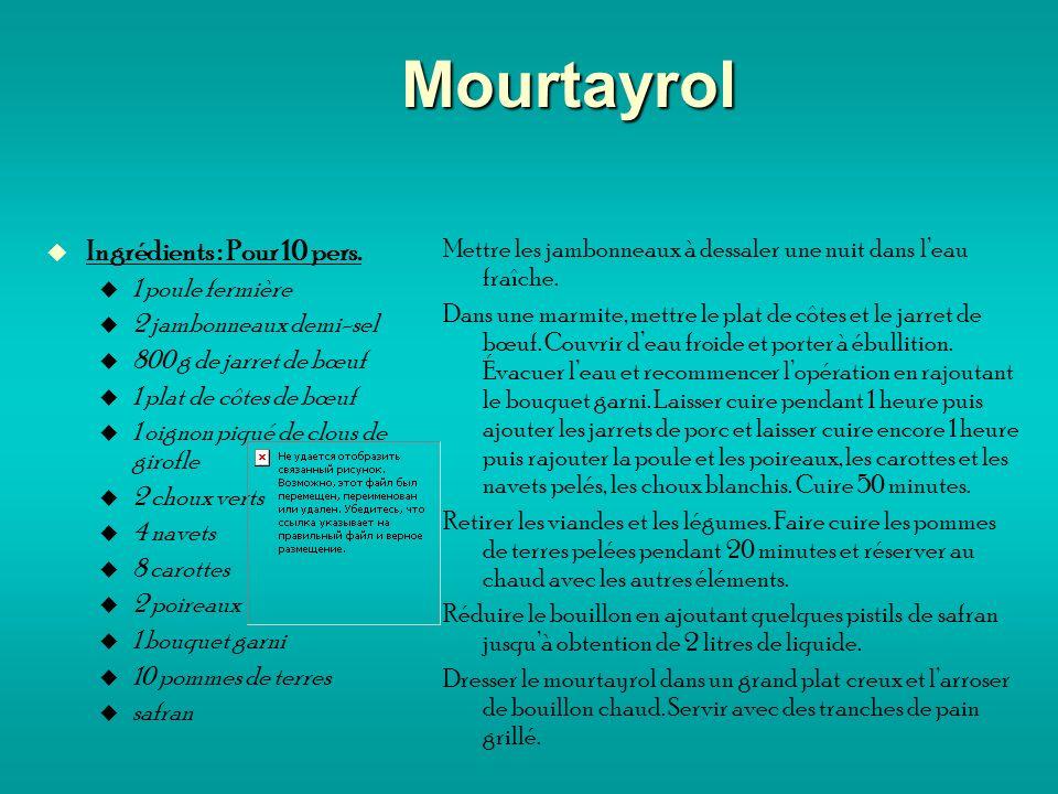 Mourtayrol Ingrédients : Pour 10 pers.