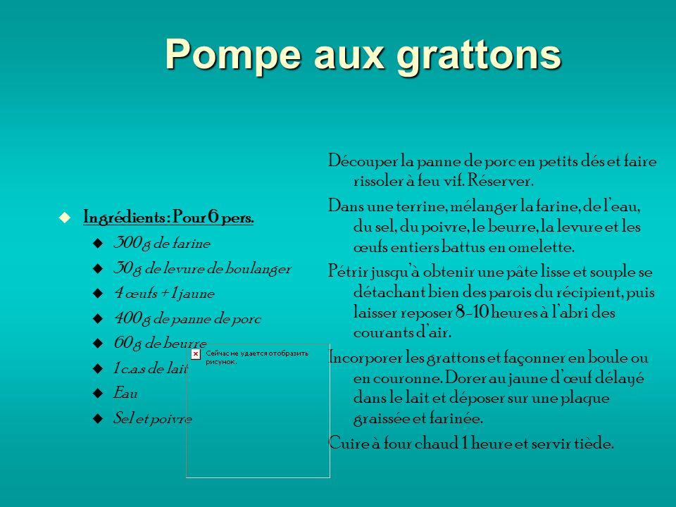 Pompe aux grattons Ingrédients : Pour 6 pers.