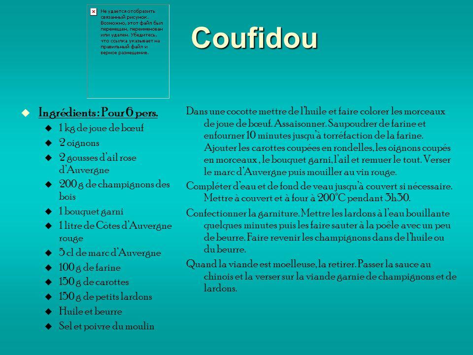 Coufidou Ingrédients : Pour 6 pers.