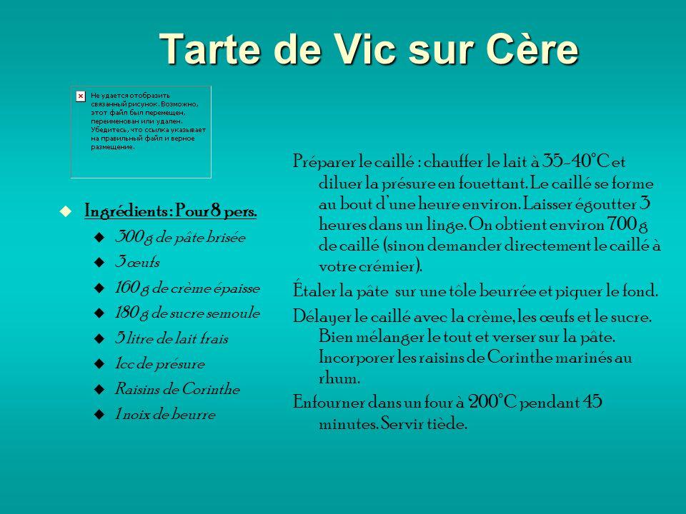 Tarte de Vic sur Cère Ingrédients : Pour 8 pers.