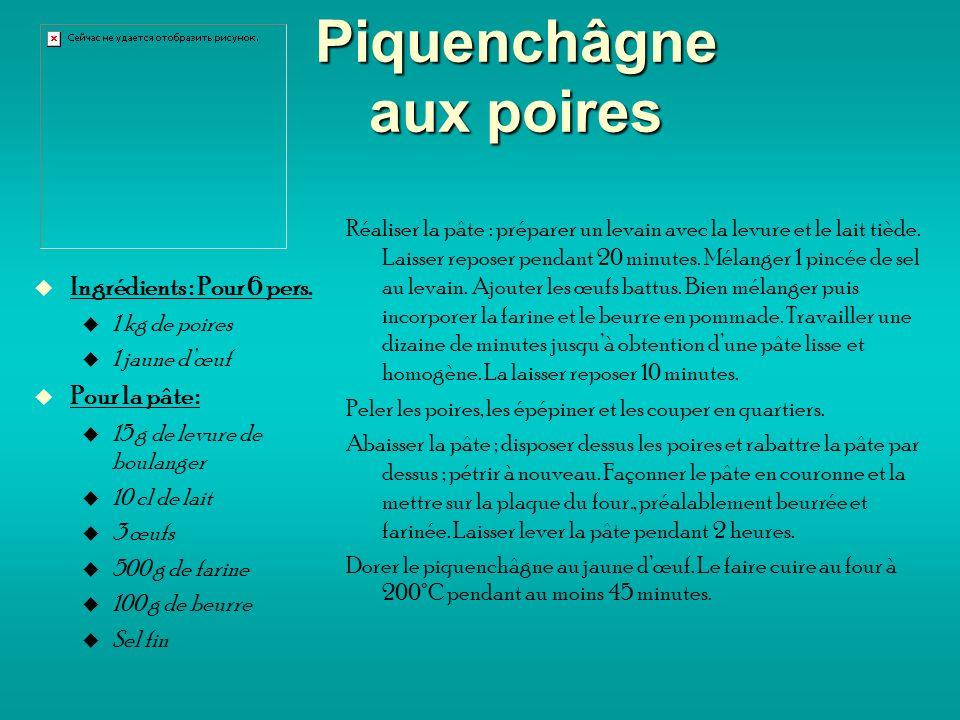 Piquenchâgne aux poires Ingrédients : Pour 6 pers.