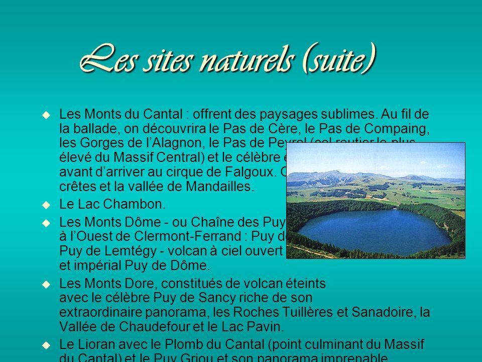 Les sites naturels (suite) Les Monts du Cantal : offrent des paysages sublimes.