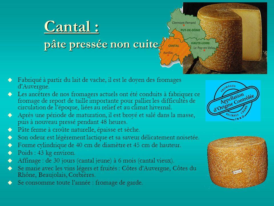 Cantal : pâte pressée non cuite Fabriqué à partir du lait de vache, il est le doyen des fromages dAuvergne.