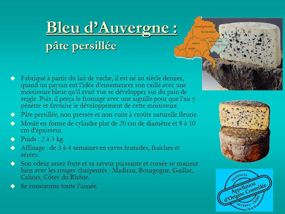 Bleu dAuvergne : pâte persillée Fabriqué à partir du lait de vache, il est né au siècle dernier, quand un paysan eut lidée densemencer son caillé avec une moisissure bleue quil avait vue se développer sur du pain de seigle.