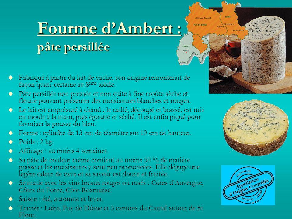 Fourme dAmbert : pâte persillée Fabriqué à partir du lait de vache, son origine remonterait de façon quasi-certaine au 8 ème siècle.