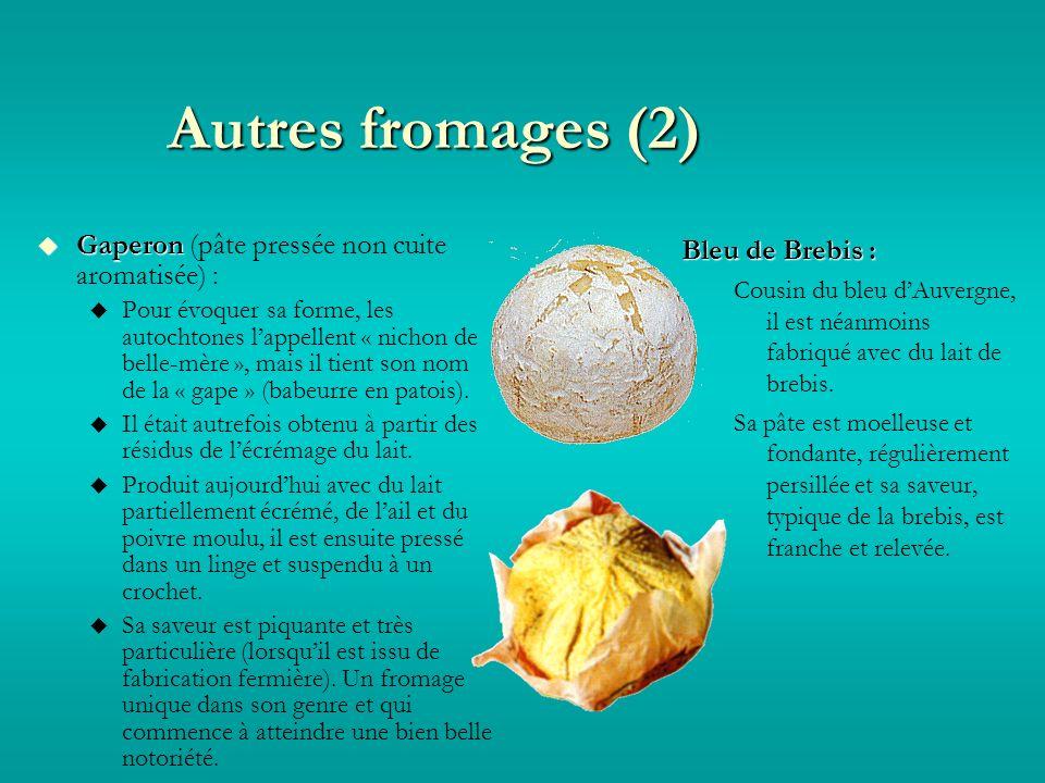 Autres fromages (2) Gaperon Gaperon (pâte pressée non cuite aromatisée) : Pour évoquer sa forme, les autochtones lappellent « nichon de belle-mère », mais il tient son nom de la « gape » (babeurre en patois).