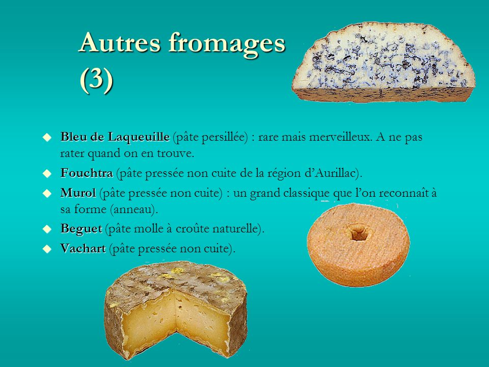 Autres fromages (3) Bleu de Laqueuille Bleu de Laqueuille (pâte persillée) : rare mais merveilleux.