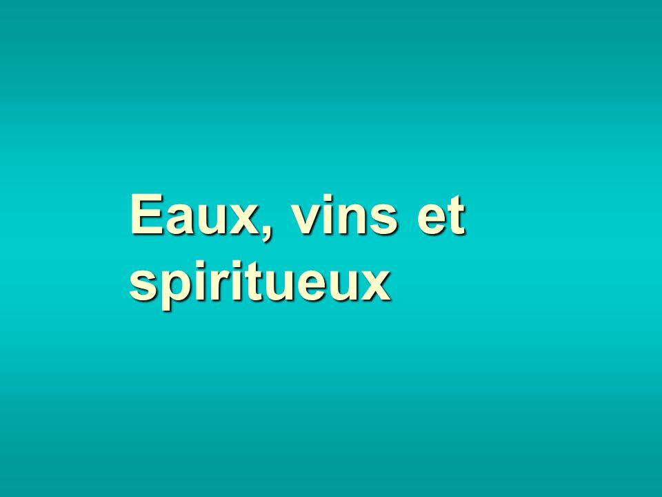 Eaux, vins et spiritueux