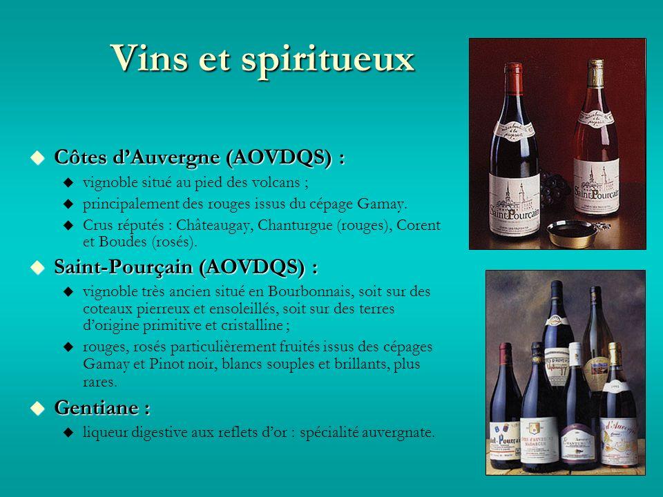 Vins et spiritueux Côtes dAuvergne (AOVDQS) : Côtes dAuvergne (AOVDQS) : vignoble situé au pied des volcans ; principalement des rouges issus du cépage Gamay.