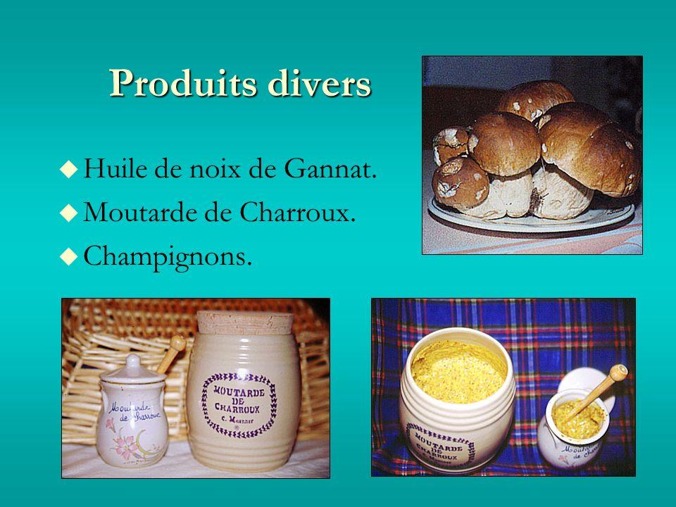 Produits divers Huile de noix de Gannat. Moutarde de Charroux. Champignons.