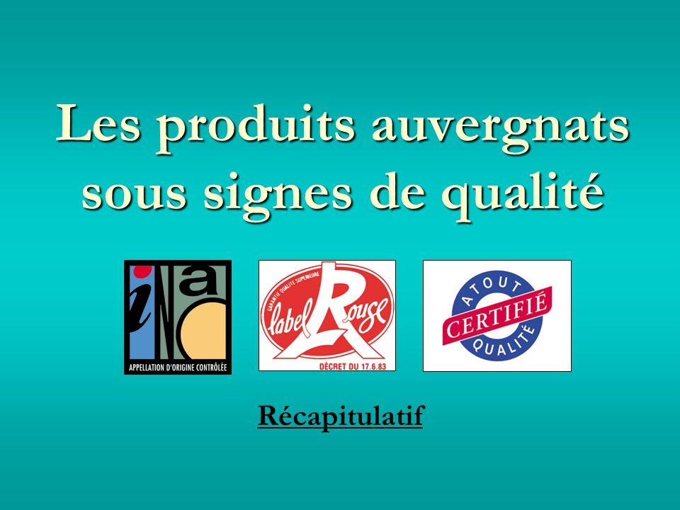 Les produits auvergnats sous signes de qualité Récapitulatif
