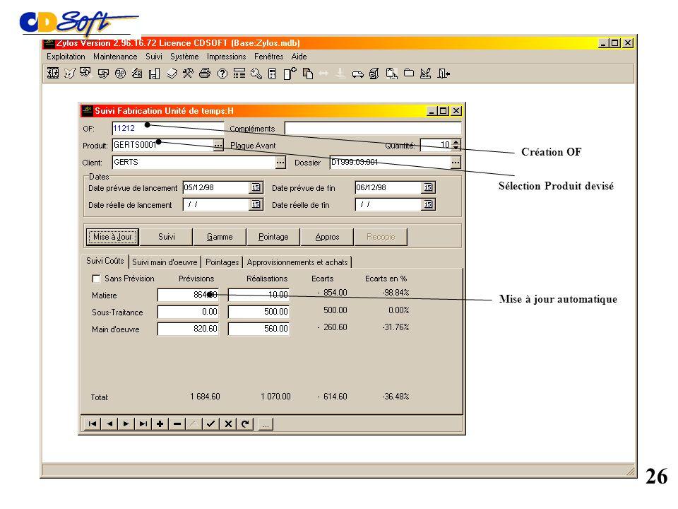 Module Suivi de fabrication optionnel 25