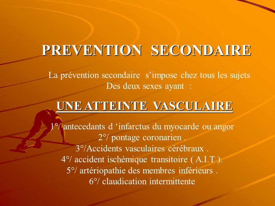 RECOMMANDATIONS A.D.A DEUX TYPES DE PREVENTIONS PREVENTION SECONDAIRE PREVENTION PRIMAIRE