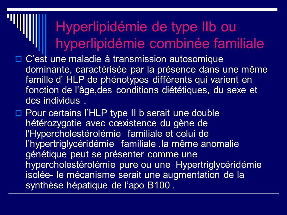 Hyperlipidémie de type IIb ou hyperlipidémie combinée familiale Cest une maladie à transmission autosomique dominante, caractérisée par la présence dans une même famille d HLP de phénotypes différents qui varient en fonction de lâge,des conditions diététiques, du sexe et des individus.