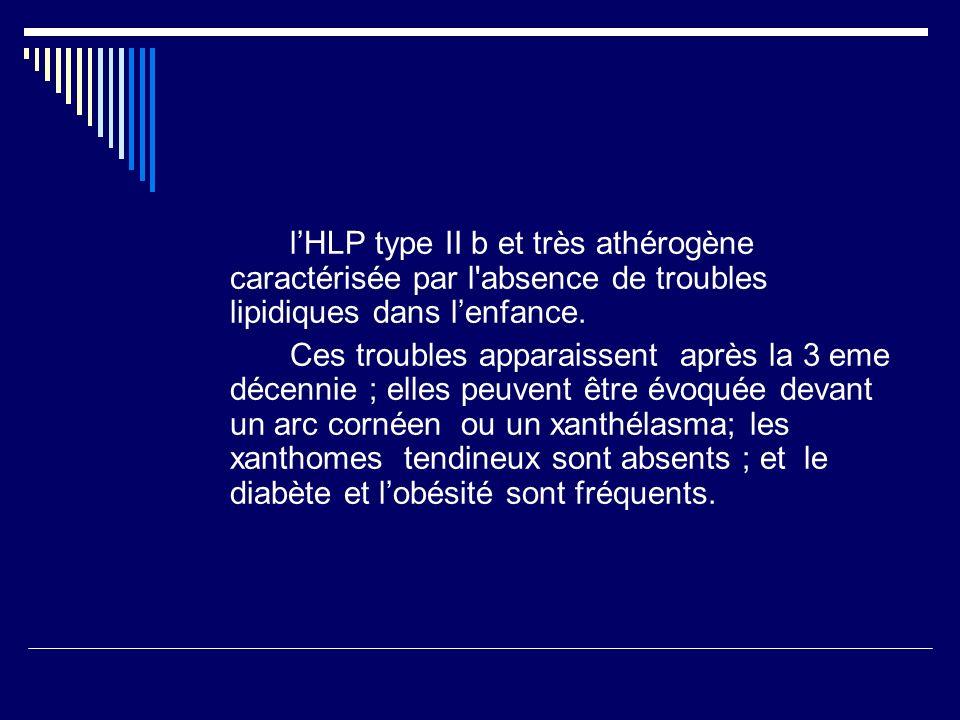 lHLP type II b et très athérogène caractérisée par l absence de troubles lipidiques dans lenfance.