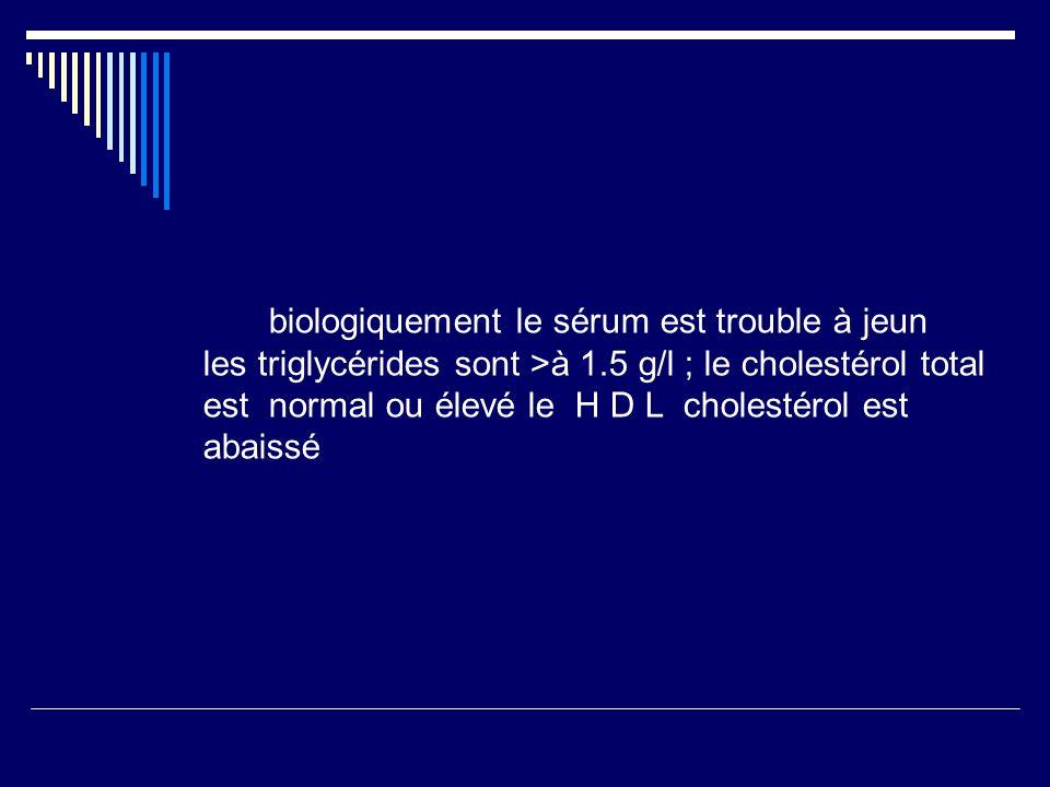 biologiquement le sérum est trouble à jeun les triglycérides sont >à 1.5 g/l ; le cholestérol total est normal ou élevé le H D L cholestérol est abaissé