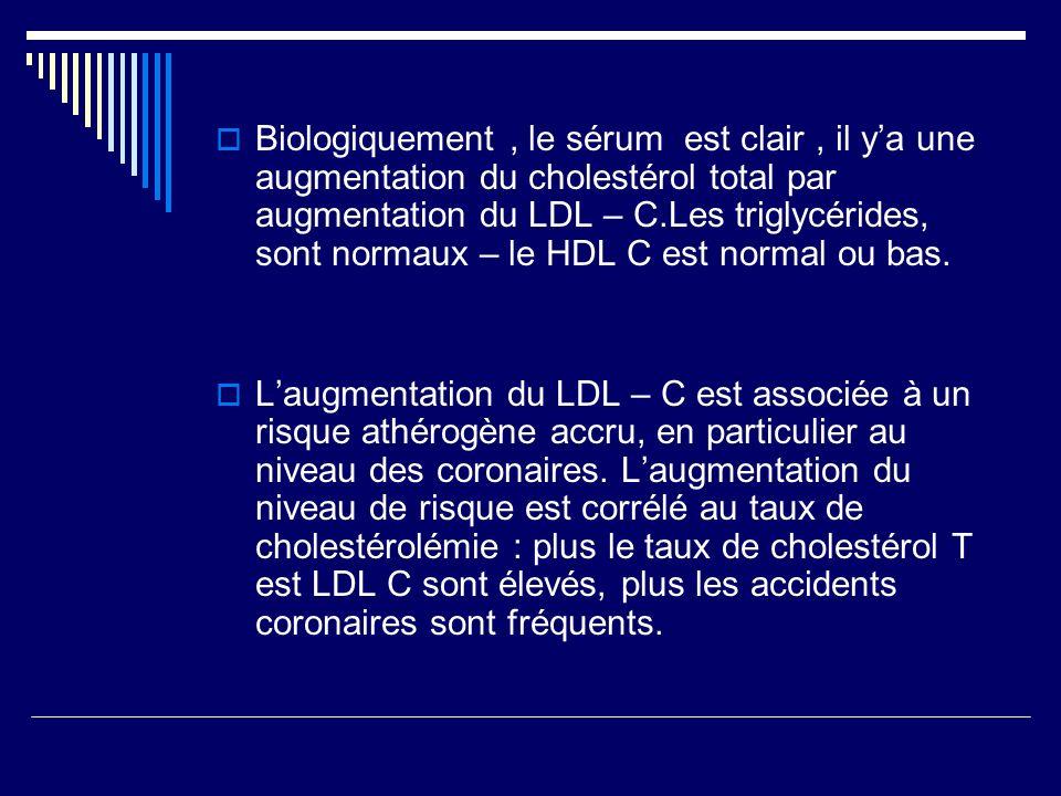 Biologiquement, le sérum est clair, il ya une augmentation du cholestérol total par augmentation du LDL – C.Les triglycérides, sont normaux – le HDL C est normal ou bas.