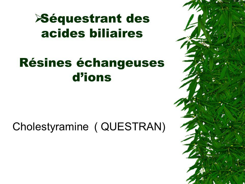 Séquestrant des acides biliaires Résines échangeuses dions Cholestyramine ( QUESTRAN)