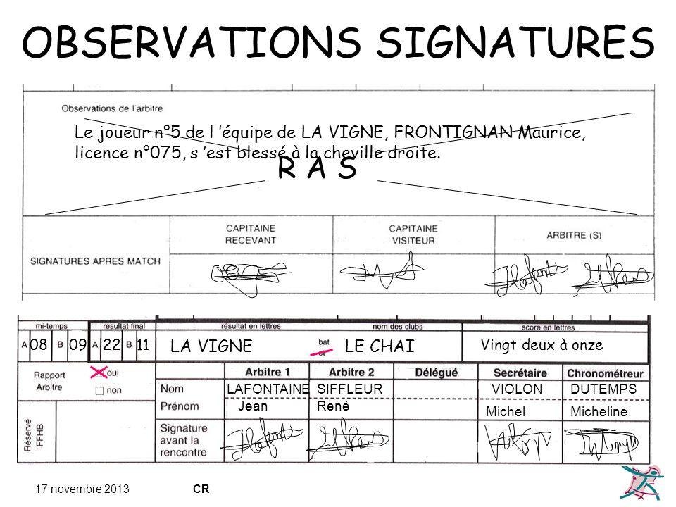 17 novembre 2013CR OBSERVATIONS SIGNATURES R A S Le joueur n°5 de l équipe de LA VIGNE, FRONTIGNAN Maurice, licence n°075, s est blessé à la cheville