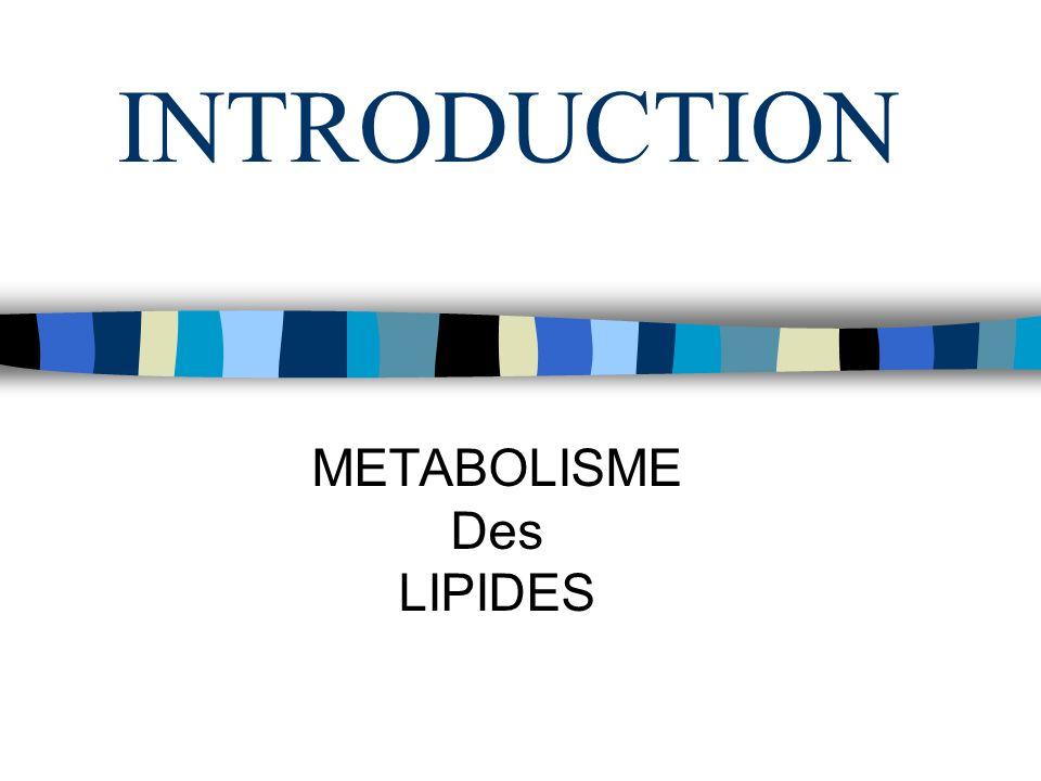 INTRODUCTION METABOLISME Des LIPIDES