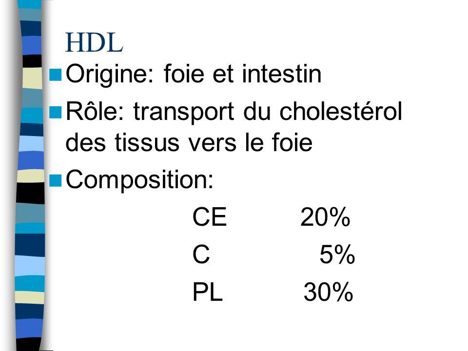 HDL Origine: foie et intestin Rôle: transport du cholestérol des tissus vers le foie Composition: CE 20% C 5% PL 30%