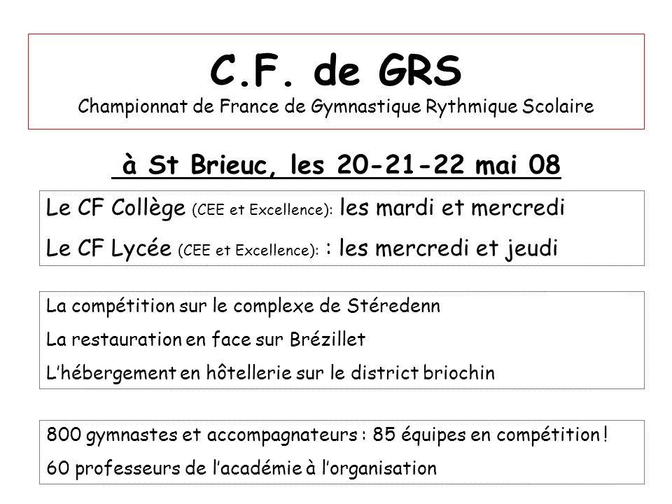 C.F. de GRS Championnat de France de Gymnastique Rythmique Scolaire à St Brieuc, les 20-21-22 mai 08 800 gymnastes et accompagnateurs : 85 équipes en