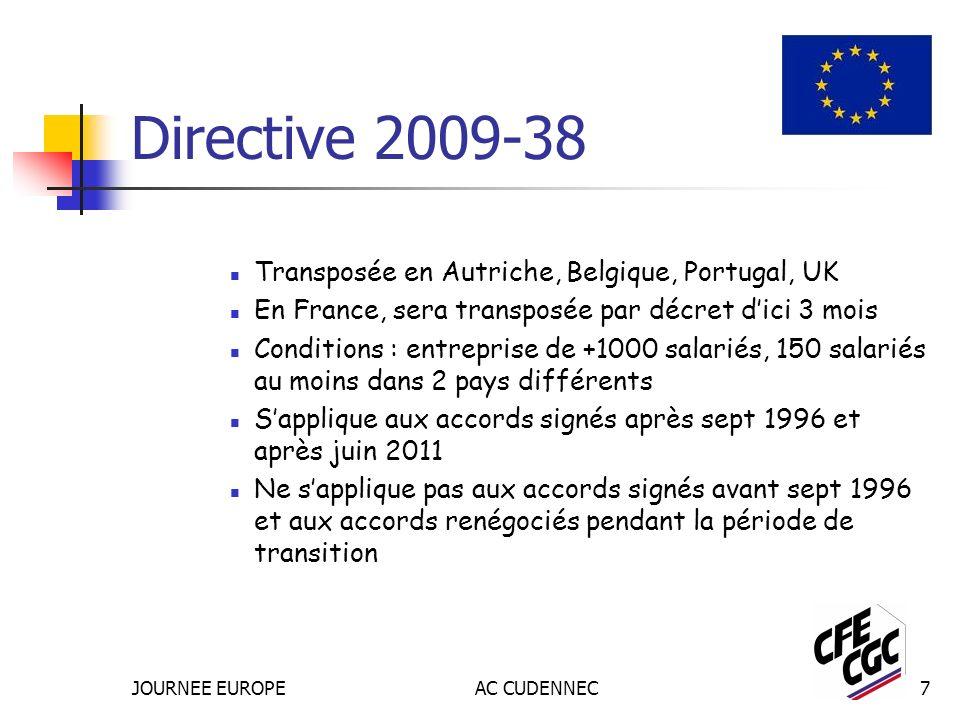 JOURNEE EUROPEAC CUDENNEC7 Directive 2009-38 Transposée en Autriche, Belgique, Portugal, UK En France, sera transposée par décret dici 3 mois Conditions : entreprise de +1000 salariés, 150 salariés au moins dans 2 pays différents Sapplique aux accords signés après sept 1996 et après juin 2011 Ne sapplique pas aux accords signés avant sept 1996 et aux accords renégociés pendant la période de transition