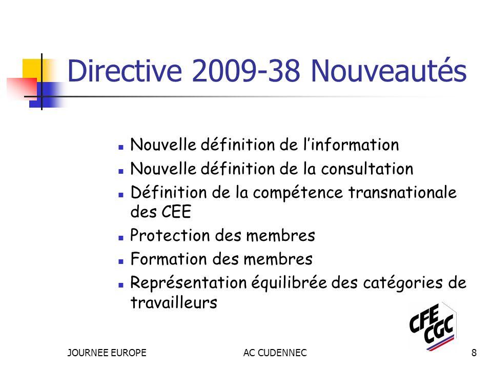 JOURNEE EUROPEAC CUDENNEC8 Directive 2009-38 Nouveautés Nouvelle définition de linformation Nouvelle définition de la consultation Définition de la compétence transnationale des CEE Protection des membres Formation des membres Représentation équilibrée des catégories de travailleurs