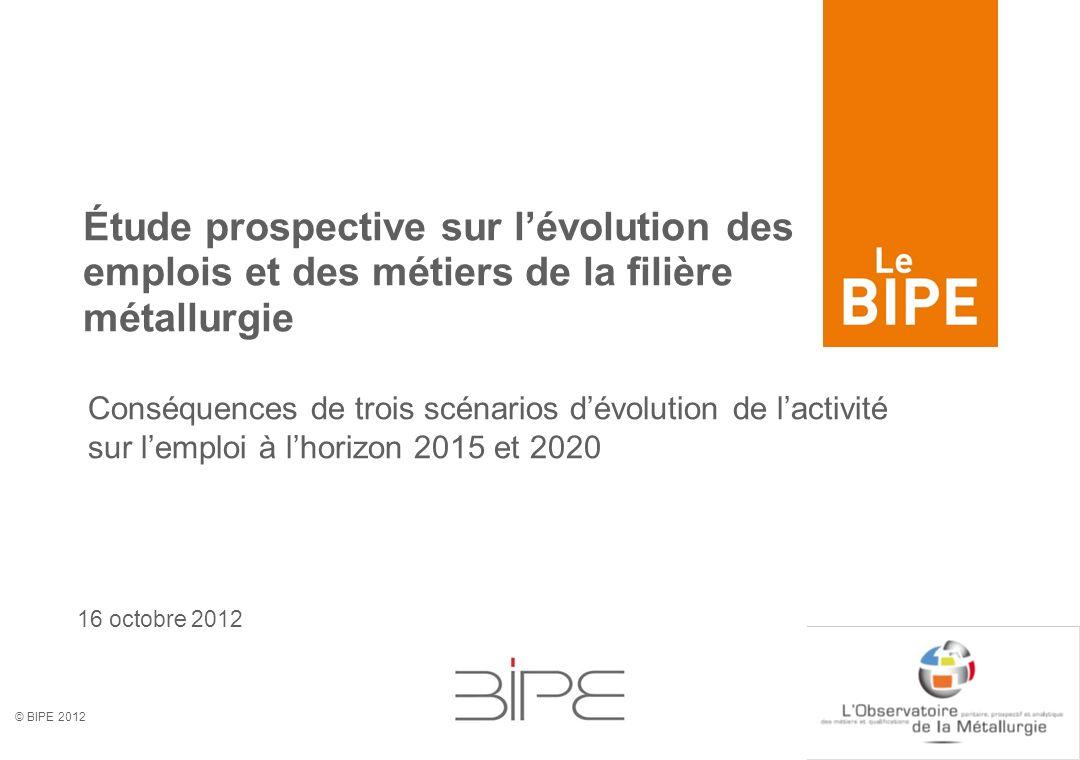 © BIPE 2012 16 octobre 2012 Étude prospective sur lévolution des emplois et des métiers de la filière métallurgie Conséquences de trois scénarios dévo