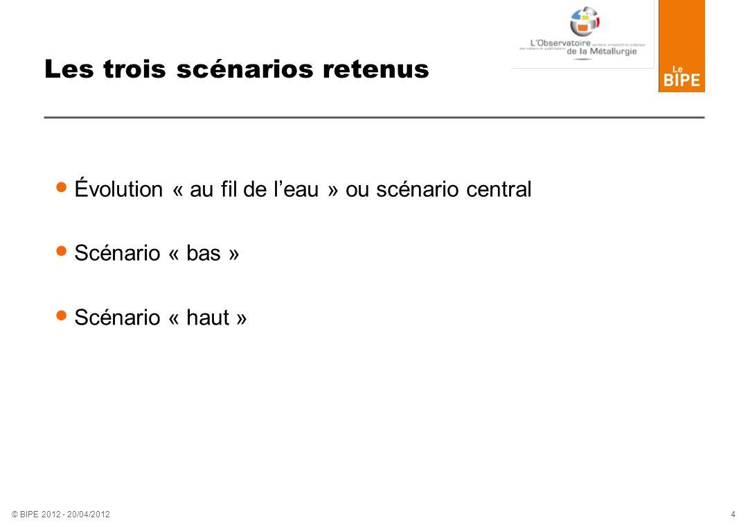 4 4 © BIPE 2012 - 20/04/2012 Les trois scénarios retenus Évolution « au fil de leau » ou scénario central Scénario « bas » Scénario « haut »